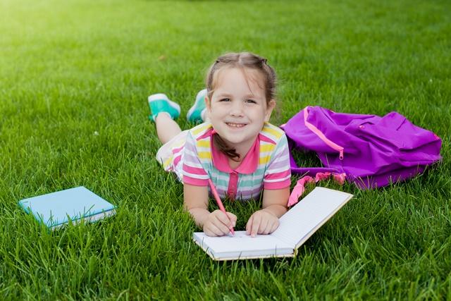 organic grass lawn for children